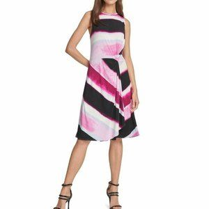 DKNY Striped Crew Neck A-Line Knee Length Dress XL